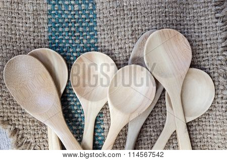 Wooden Spoons On Gunny Bag