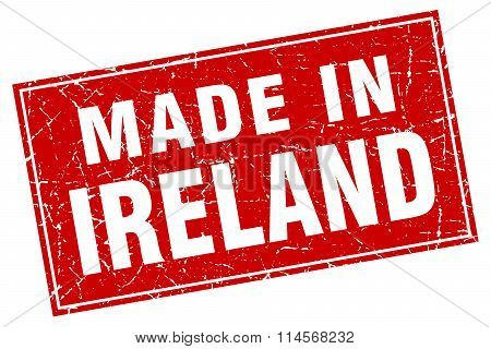 Ireland red square grunge made in stamp