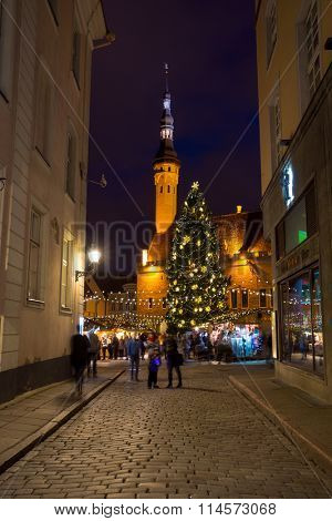 TALLIN, ESTONIA - DECEMBER 24, 2015: City hall square at Christmas on December 24, 2015 in Tallin, Estonia