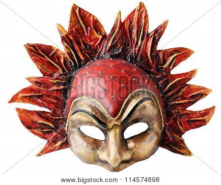 Interior and carnaval mask embodying the element of fire, isolated