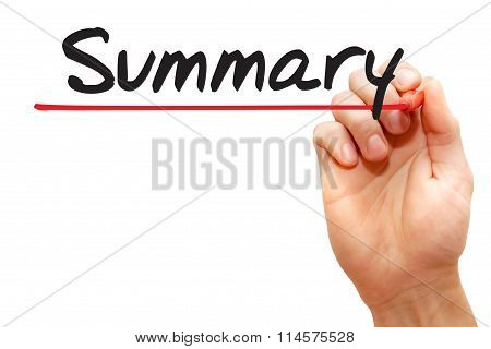 Hand Writing Summary, Business Concept..