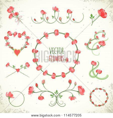 Set Of Vintage Floral Frames And Vignettes. Vector Illustration, Eps10.
