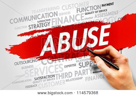 ABUSE word cloud business concept, presentation background