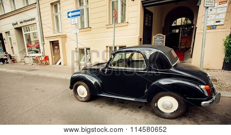 Retro Auto Made By Fiat Company Stoped On The Empty Street