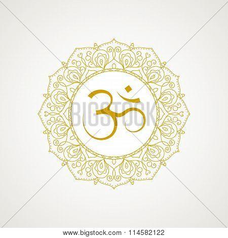 Golden Om Symbol In Vector