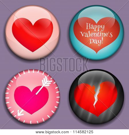 Red Hearts 3d Buttons.