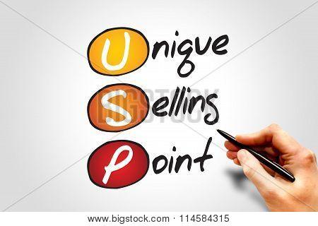 Unique Selling Point (USP) business concept acronym poster