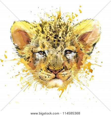 Lion cub T-shirt graphics, watercolor Lion cub illustration with splash watercolor textured backgrou