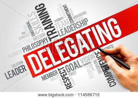 DELEGATING word cloud business concept, presentation background