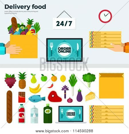 Banner and Icons of Delivery Food