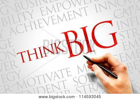 Think Big word cloud business concept, presentation background