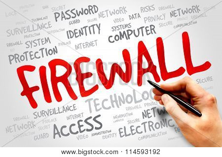 FIREWALL word cloud security concept, presentation background