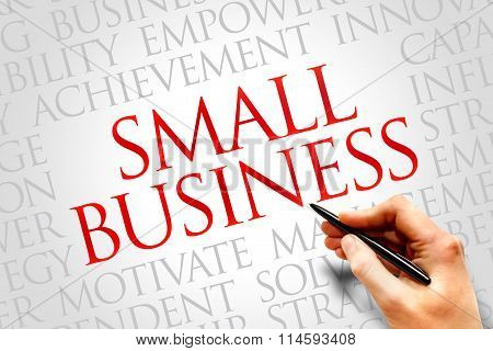 Small Business word cloud business concept, presentation background