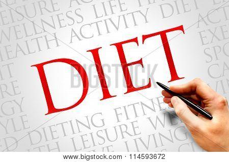 Diet word cloud health concept, presentation background