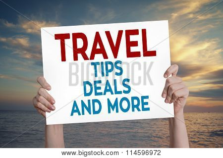 Travel Tips Deals And More Card With Beach Background
