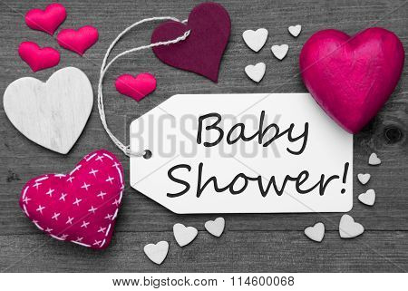 Black And White Label With Pink Hearts, Text Baby Shower