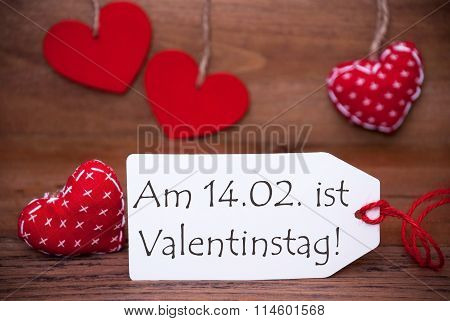 One Label With Romantic Hearts Decoration, Valentinstag Mean Valentines Day