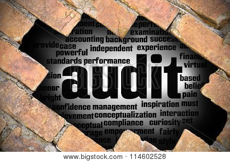 Hole at the brick wall with audit word cloud inside. poster