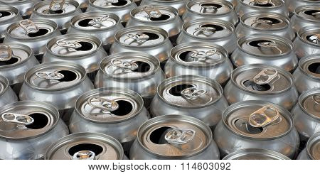 aluminum can recycling close up view tops of empty cans landscape poster