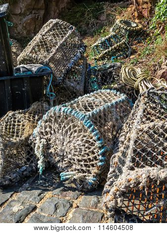Crab Traps In Harbour Of The Sark Island, Guernsey, Channel Islands