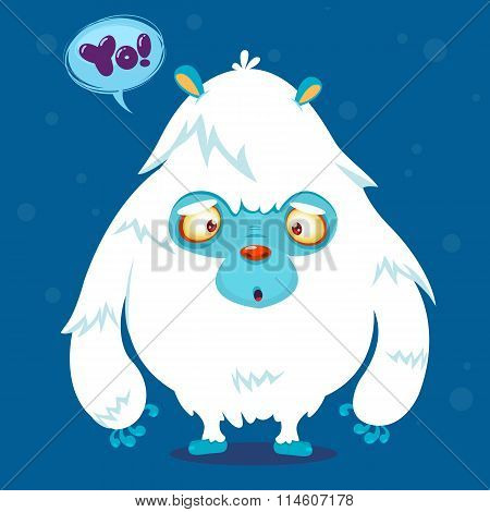 Cute cartoon monster. Vector bigfoot character