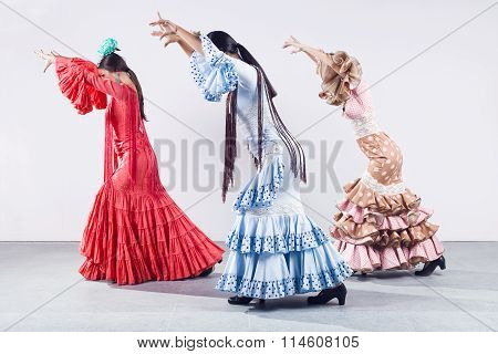 Pretty Three Young Flamenco Dancer In Beautiful Dress.