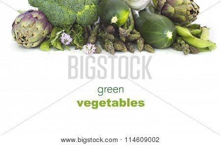 Fresh green vegetables  on white