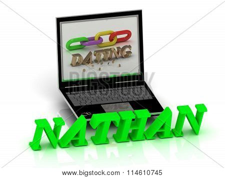 3D illustration NATHAN- Name and Family bright letters near Notebook and inscription Dating on a white background