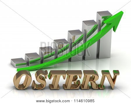 3D illustration OSTERN- inscription of gold letters and Graphic growth and gold arrows on white background