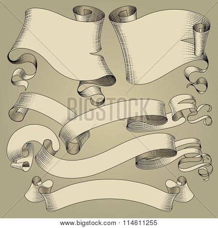 Set of vintage ribbons and flags in engraving drawing style.