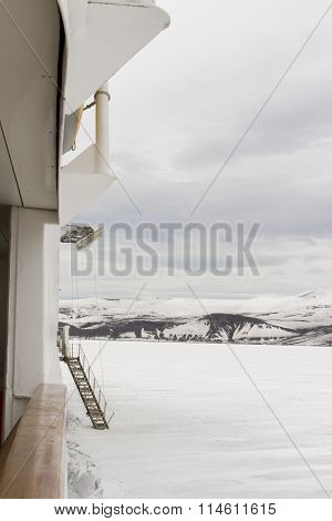 Gangway On Ship Parked In Shelf Ice