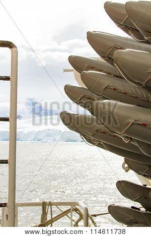 Rafts Onboard Ship In Antarctica