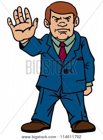 Responsible man gives a sign of attention and danger. Vector illustration.