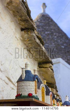 Italy, Apulia, Alberobello, trulli, typical houses. Souvenirs