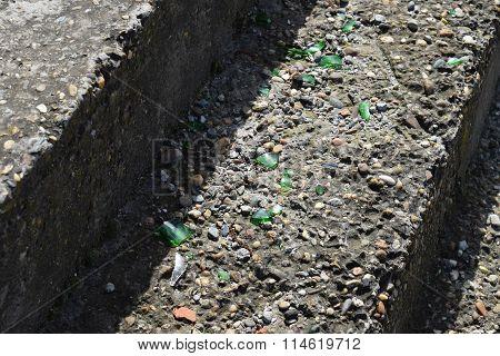 Glass Splinters On Concrete Steps