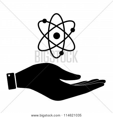 Atom in hand icon