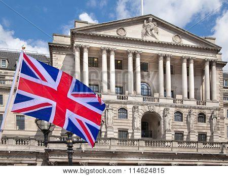 Bank of England and British flag