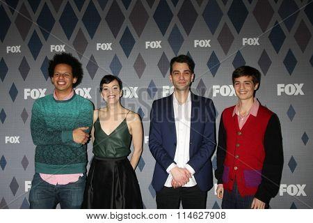 LOS ANGELES - JAN 15:  Eric Andre, Britt Lower, Jay Baruchel, Simon Rich at the FOX Winter TCA 2016 All-Star Party at the Langham Huntington Hotel on January 15, 2016 in Pasadena, CA