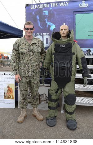 Navy Explosive Ordnance Disposal specialist with bomb squad suit during Fleet Week 2015