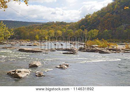 Shenandoah River along Appalachian trail in West Virginia USA.