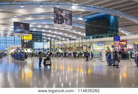 LONDON, Interior of departure hall Heathrow airport Terminal 5. New building