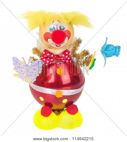 Toy Clown With A Butterfly And A Flower In The Hands Decoration