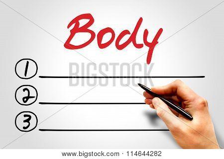 Body Blank List