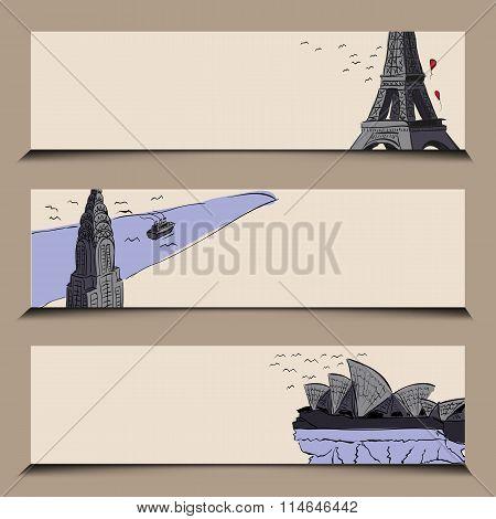 horizontal banner stylized famous city sights