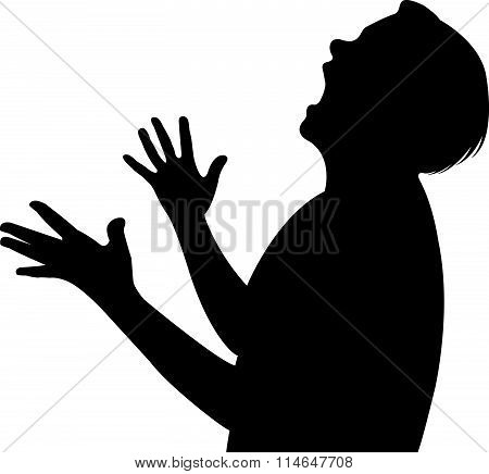 an angry young woman shouting, black color silhouette