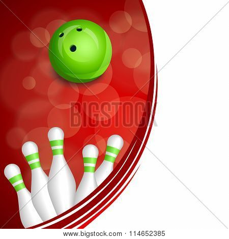 Background abstract red bowling green ball frame illustration vector