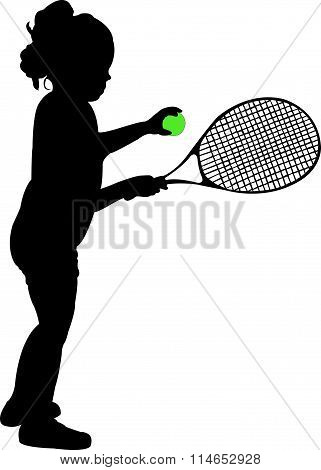 black color silhouette of child playing tennis