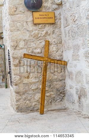 Wooden Pilgrims Cross In Jerusalem