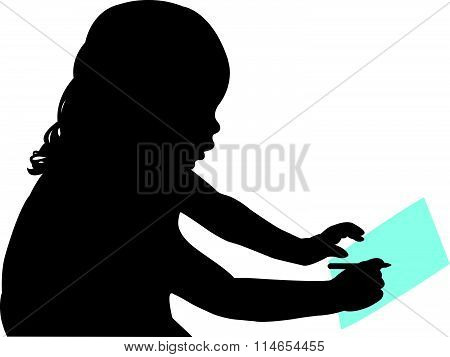 cute girl studying silhouette vector