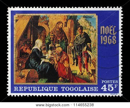 TOGO - CIRCA 1968: A post stamp printed in the Republic of Togo shows Adoration of the Magi, by Durer, Christmas issue, circa 1968.